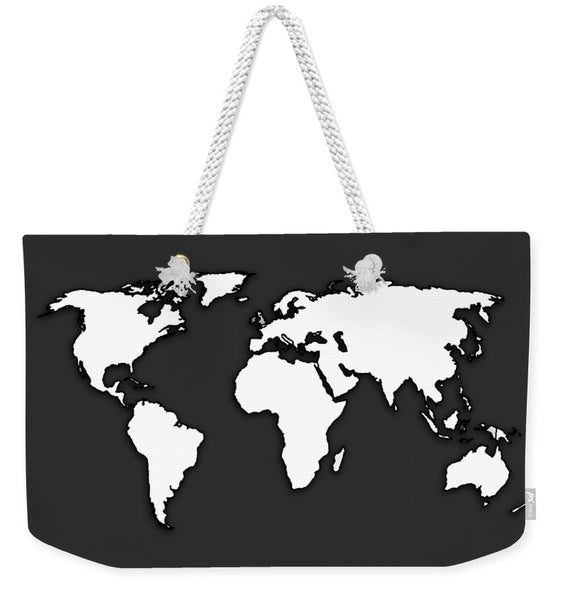 White And Dark Grey World Map By Artist Singh - Weekender Tote Bag