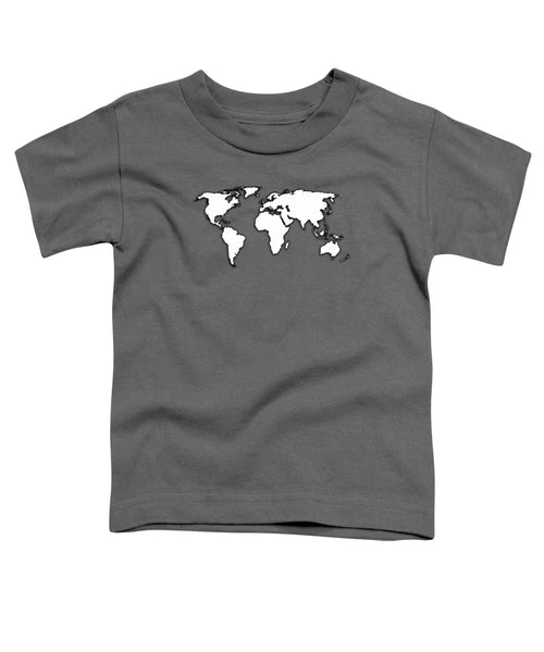 White And Dark Grey World Map By Artist Singh - Toddler T-Shirt