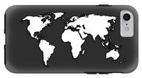 White And Dark Grey World Map By Artist Singh - Phone Case