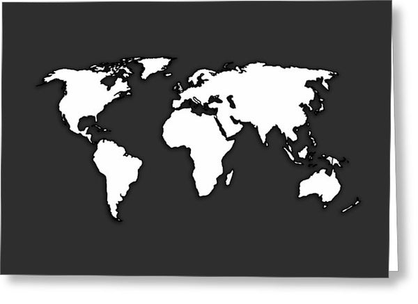 White And Dark Grey World Map By Artist Singh - Greeting Card