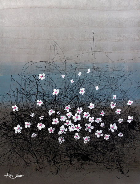white flowers in the mesh by Artist SinGh