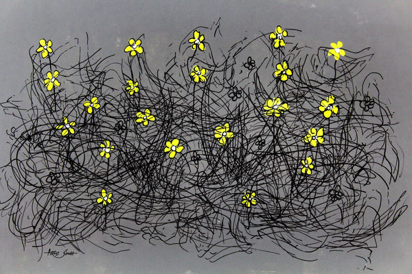 "YELLO FLOWERS 7861, Artist SinGh, 24""x36"", mixed media on paper"