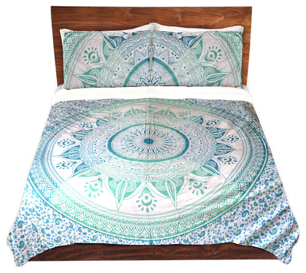 or purple outfitters magical duvet cover in dark urban blue thinking pin medallion