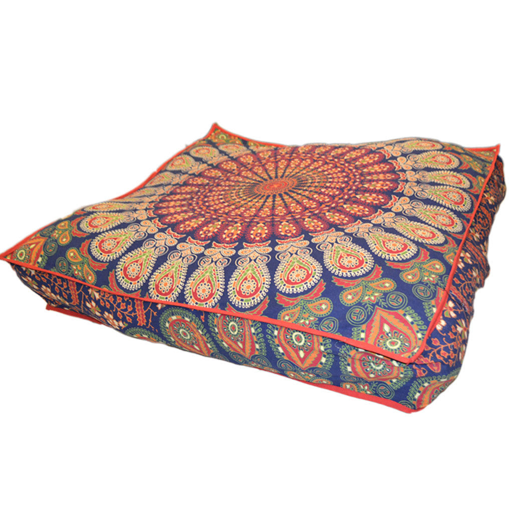 indian motifs and covers india products floor elephant square kraftdirect yogi mandala inches for orange yoga pillows cushion pillow with blue