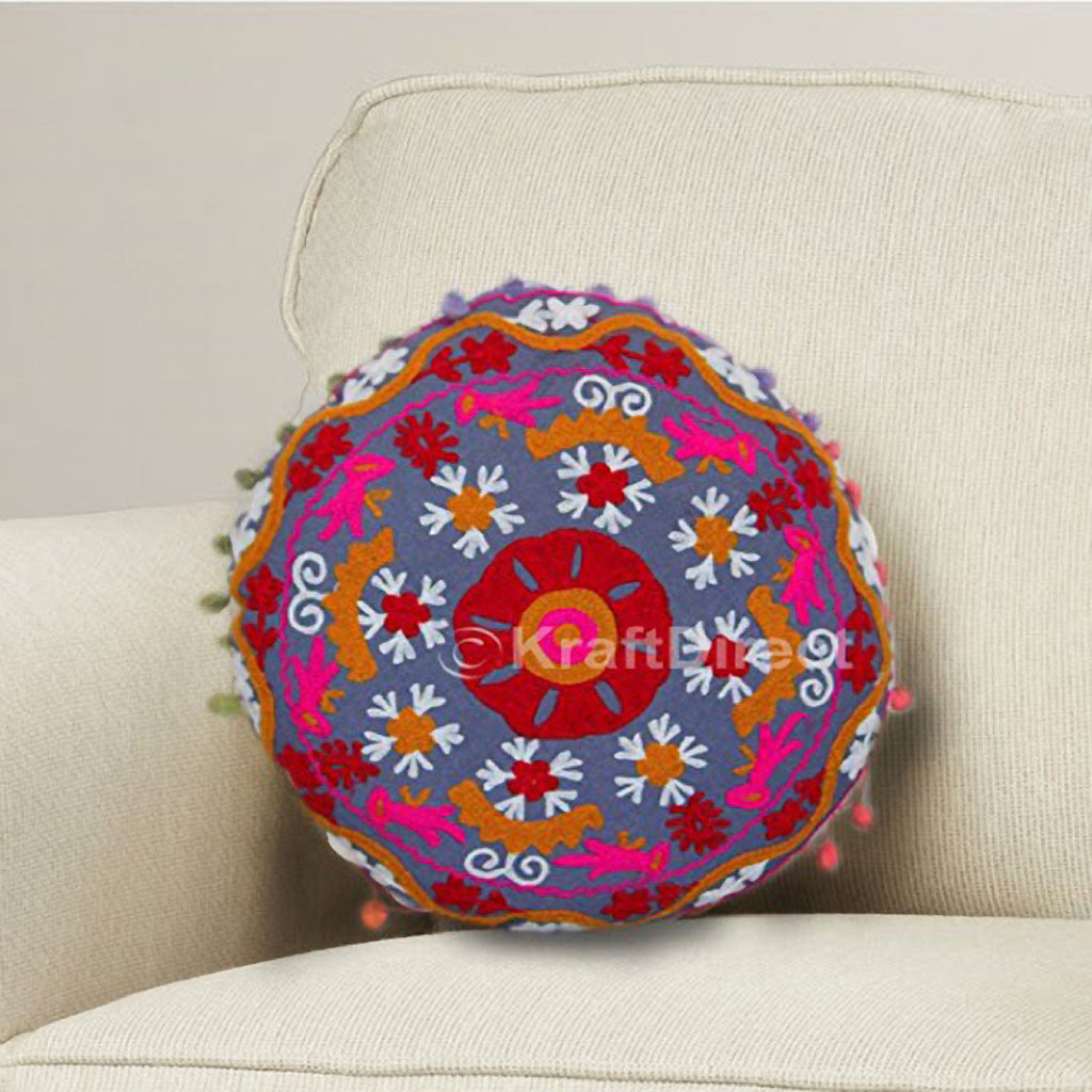 Blue Designer Pillow Cover With Flower Motifs In Red Yellow And