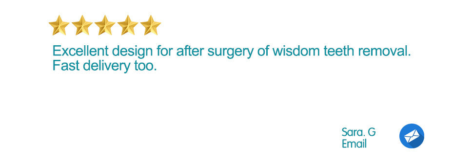5 Star Email Review. Excellent design for after surgery of wisdom teeth removal. Fast delivery too.