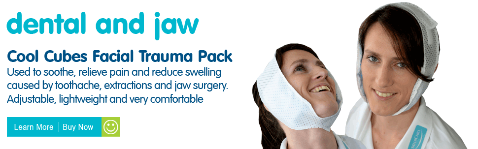 Facial and Dental Trauma Pack. Used to soothe, relieve pain, reduce swelling caused by toothache, wisdom tooth extractions and jaw surgery. Adjustable, lightweight and very comfortable