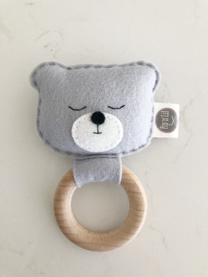 Felt toy teething rattle