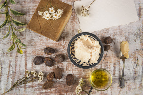 shea butter benefits - shea butter natural ingredients flat lay
