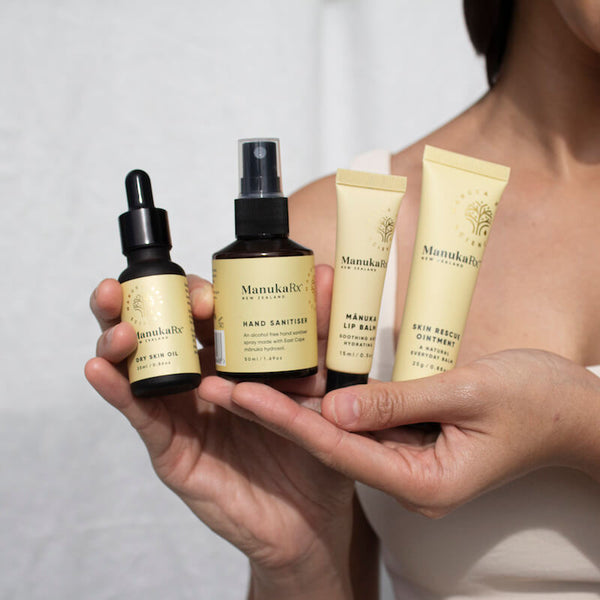 ManukaRx-East Cape Manuka Essential Oil-10 Most Bizarre and Bad Beauty Trends in History, and One That Is Great image showing natural antibacterial skincare products by ManukaRx using East Cape Manuka essential oil.