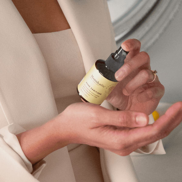 Alcohol vs Non-Alcohol Hand Sanitiser: Is There a Difference? Image showing ManukaRx antibacterial and alcohol-free hand sanitiser with Manuka Oil.