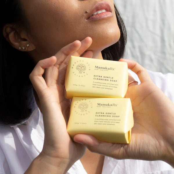 ManukaRx-East Cape Manuka Essential Oil-Maskne- What is it and how Mānuka Oil Can Help image showing ManukaRx Antibacterial Extra Gentle Cleansing Soap for clear skin.