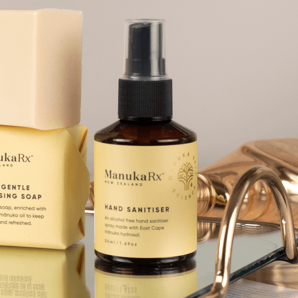 What's the Best Type of Hand Sanitiser for Sensitive Skin image showing ManukaRx Alcohol-Free Hand Sanitiser with Manuka Oil.