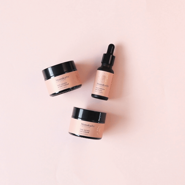 What's the difference: Tea Tree Oil vs Mānuka Essential Oil showing ManukaRx Pro-Aging Trio