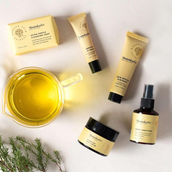 Why Is Antibiotic Skincare So Important image featuring ManukaRx lineup of antibacterial natural skin oils and treatments.
