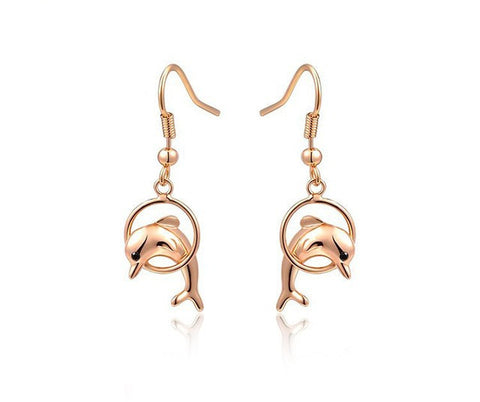 Dolphin Fashion Earrings Rose Gold