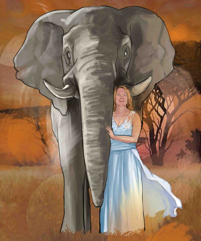 personalised illustration of woman with elephant