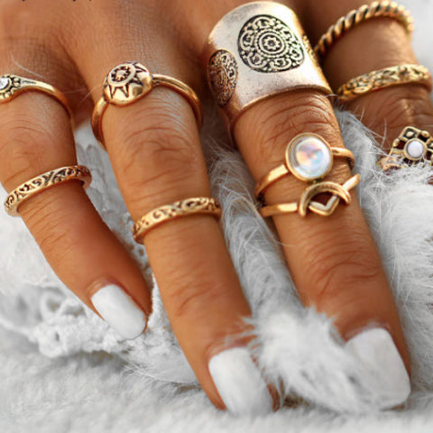 Boho 9 pcs/set Ring Set Gold