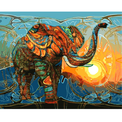 Elephant Painting DIY Paint by Numbers 40cm x 50cm