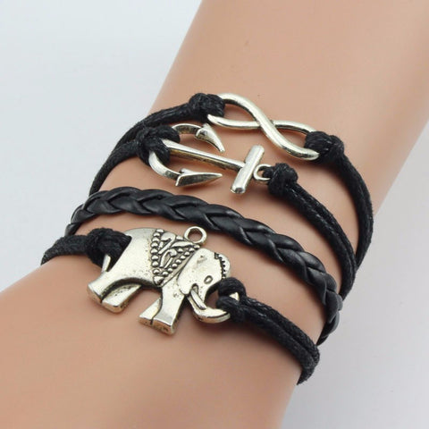 Elephant Bracelet Leather Charm Infinity