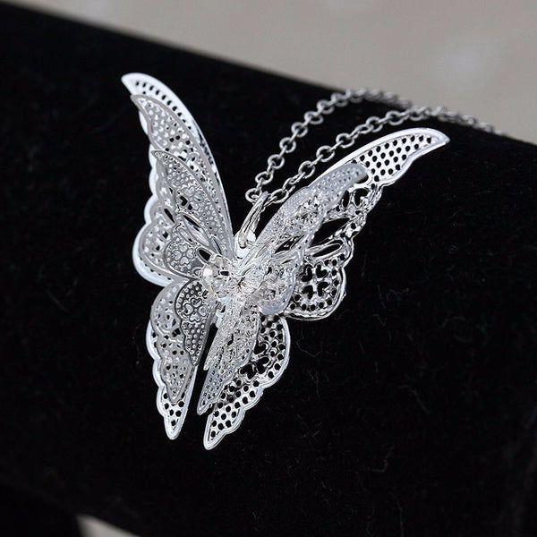 Butterfly Pendant Necklace Silver