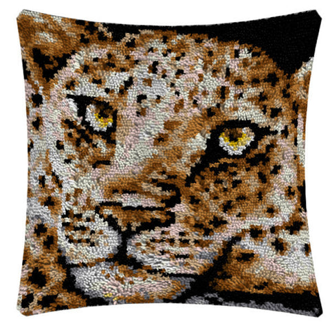 Leopard Latch Hook Cushion Cover Set