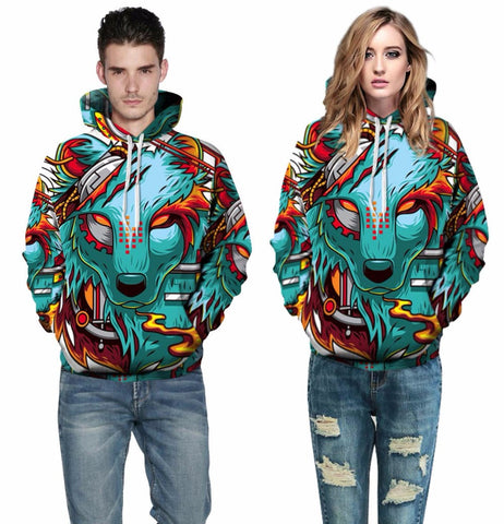 Wolf Hoodie on man and woman