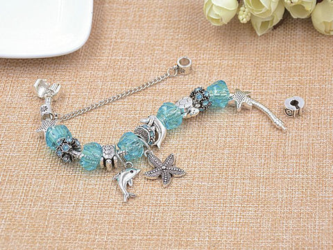 Dolphin and Starfish Charm Bracelet Blue