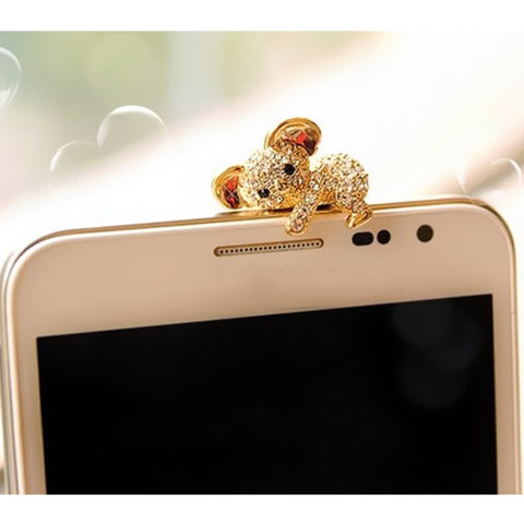Koala earphone plug with crystals