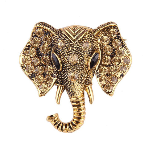 Gold-elephant-brooch
