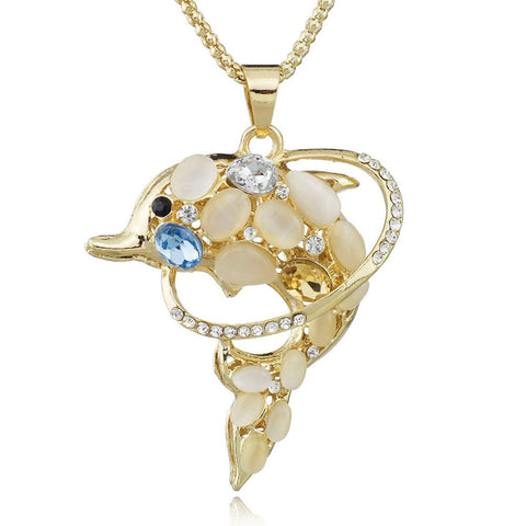 Dolphins Exquisite Crystal Necklace