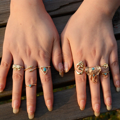 Elephant Ring Set BOHO Gold