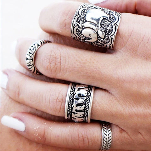 Elephant Ring Set Boho 4 PCS