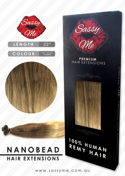 Nanobead Hair Extensions - #6 - #613 - Ombre