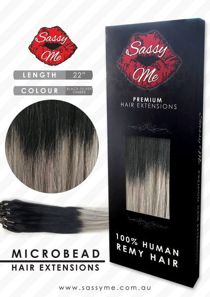 Microbead Hair Extensions - #Black - Silver Ombre