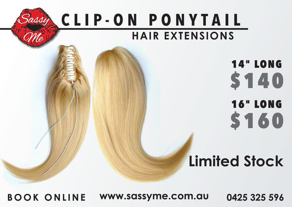 "Clip-on Ponytail: COLOR: BLONDE #60 - 14"" LONG"