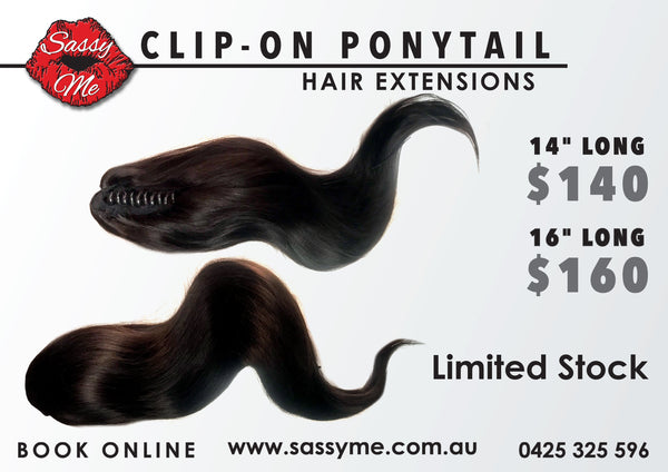 "Clip-on Ponytail: COLOR: BROWN #1B - 16"" LONG"