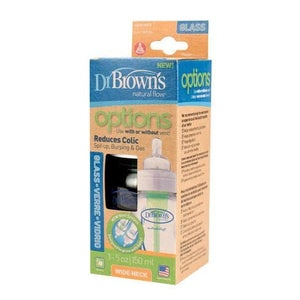 Dr Browns Baby Bottles Dr Brown's Original OPTIONS Glass Wide Neck Bottle with Teat - 150ml