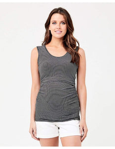 Ripe Maternity Nursing Clothes Khaki / White / XL Ripe Maternity Mini Stripe Nursing Tube Tank