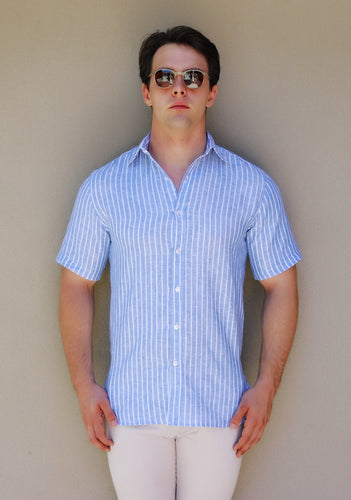 Short Sleeve Shirt – Lino a strisce blu spessa, Thick Blue Stripe