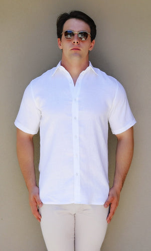 Short Sleeve Shirt – Lino biancho, White Linen