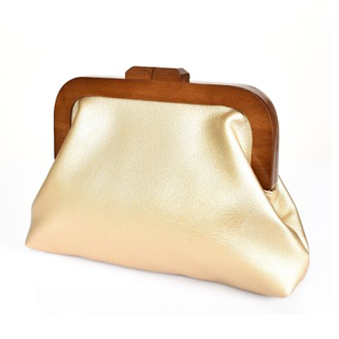 ADORNE GOLD FAUX LEATHER FRAME CLUTCH - 2 Colours Available