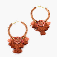 ADORNE GRADUATED TASSELS HOOP EARRINGS - 2 Colours Available