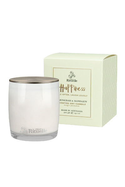URBAN RITUELLE SOY CANDLE 'HAPPINESS' - LEMONGRASS & MANDARIN