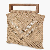 ADORNE CROCHET SWING RECTANGLE HANDLE BAG - Natural
