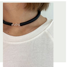 Load image into Gallery viewer, C012 leather choker with clear quartz crystals