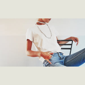 C011 choker with leather chain