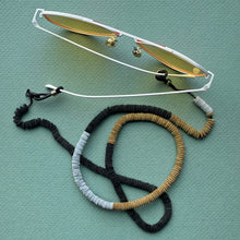 Load image into Gallery viewer, Convertible leather necklace with lobster clasps and included rubber eyeglass holders on both ends, can be worn as necklace, eyeglasses holder or face mask holder, soft to your neck and super lightweight.  Face Mask Lanyard, eyeglass holder, Face Mask Holder, Lightweight Facemask Straps, Facemask Necklace, leather necklace, multifunctional necklace, mask accessory