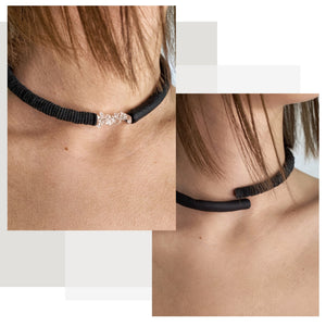C012 leather choker with clear quartz crystals
