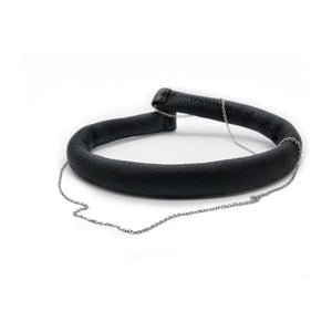 C010 leather choker with silver chain